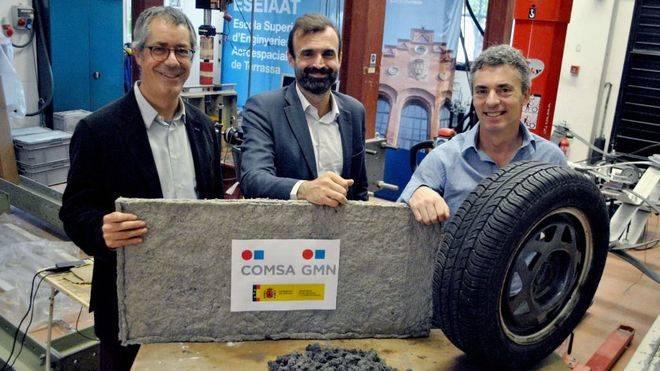 Investigadores de la UPC crean un nuevo material a partir de las fibras textiles de los neumáticos viejos