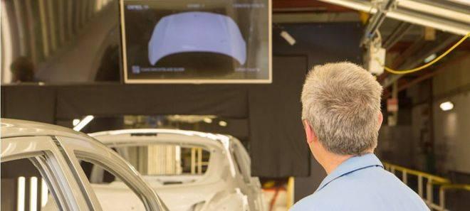 salida del sistema de inspección de defectos de pintura en línea. Una vez inspeccionada la carrocería se informa a los operarios de inspección y reparación de la posición y gravedad de cada uno de los defectos en cada zona de la carrocería