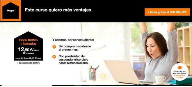 Orange lanza una oferta de fibra + llamadas para Universitarios
