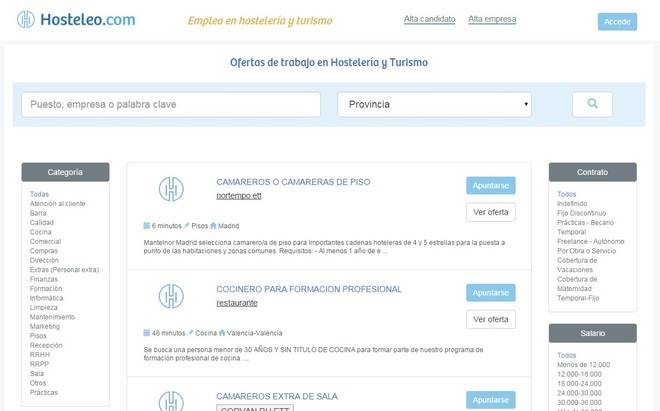 Hosteleo.com renueva su portal de ofertas de trabajo en hostelería y turismo en España