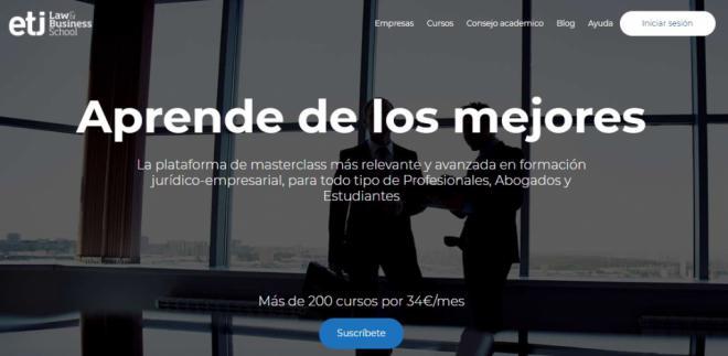 ETJ, llega el netflix de la formación jurídica, 200 masterclass por 34 € al mes